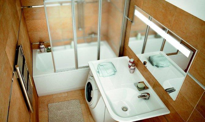 Стильный дизайн небольшой ванны в хрущевке