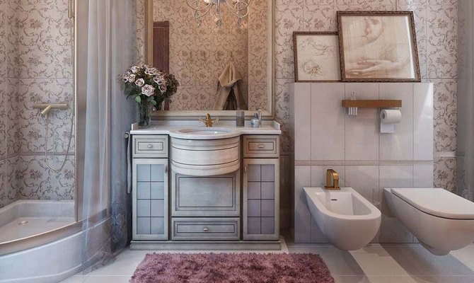 Красивая отделка ванной комнаты