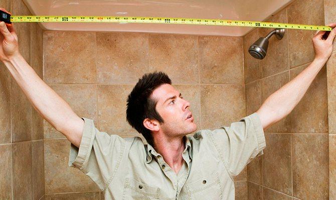 Проведение замеров в ванной