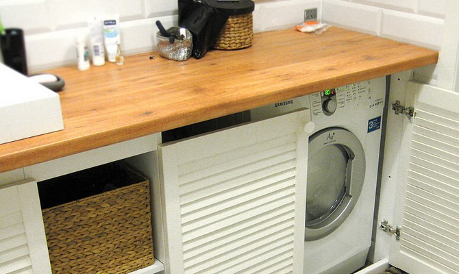 Деревянная столешница для ванной