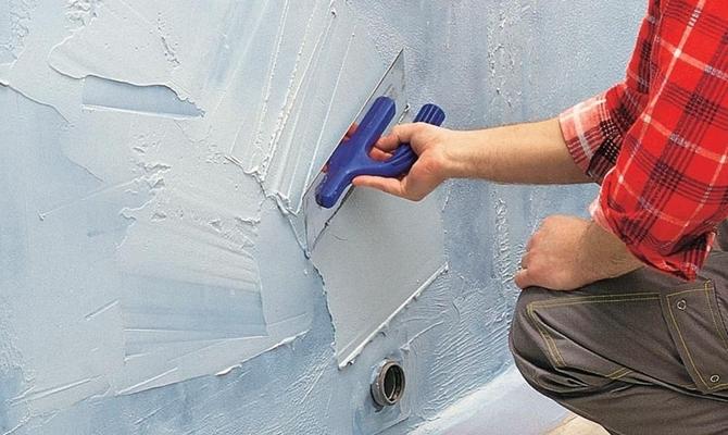 Обработка стен в ванной