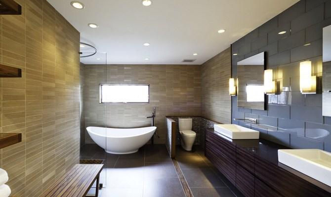 Удачное размещение светильников в ванной