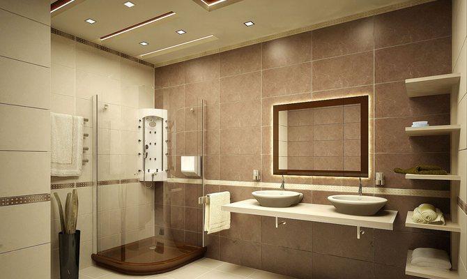Разделение ванны на зоны светильниками